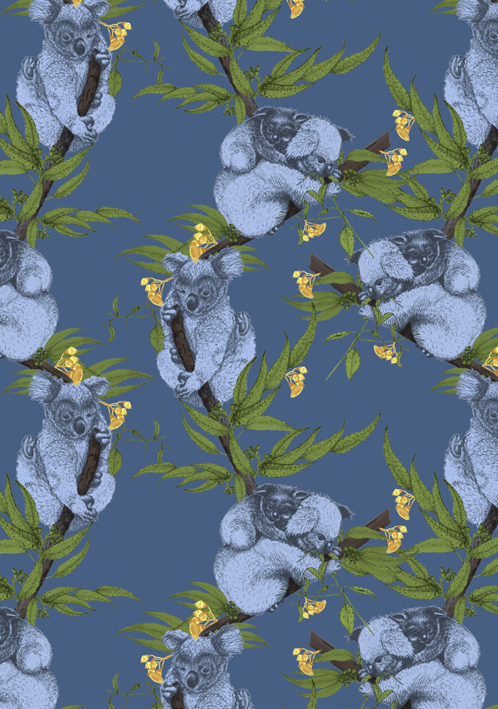 Koala and gumleaves pattern design for client