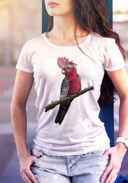 tee shirt with galah print designed and printed in Australia