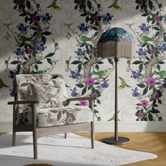 Interior Scene showing desert bloom wallpaper and upholstery velvet fabric