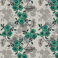Our Wedge Pea design is available as a wallpaper, furnishing fabric and linen. Designed and printed in Australia.