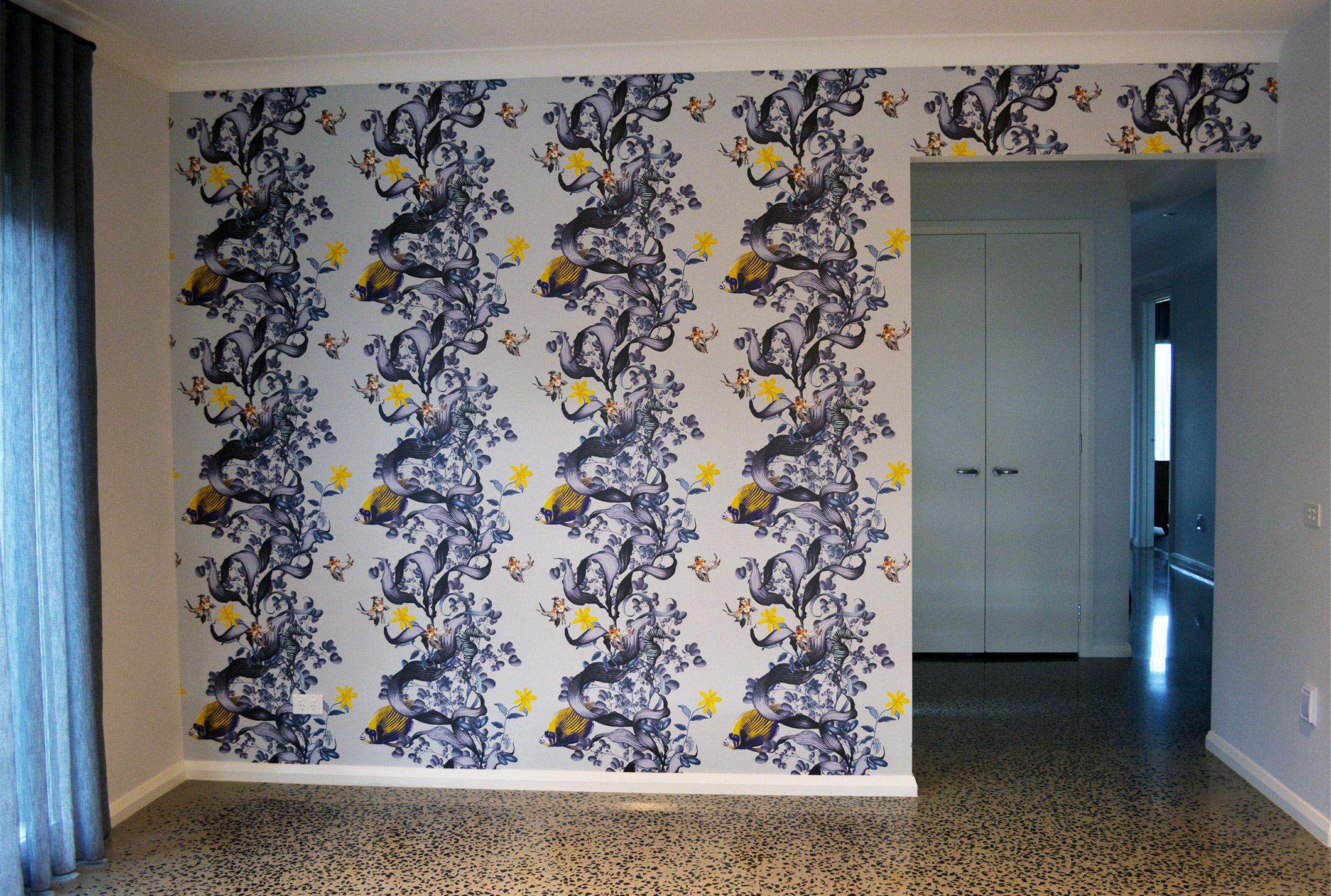 wallpaper installation of underwater wonderland installed by Prestige Wallpapering