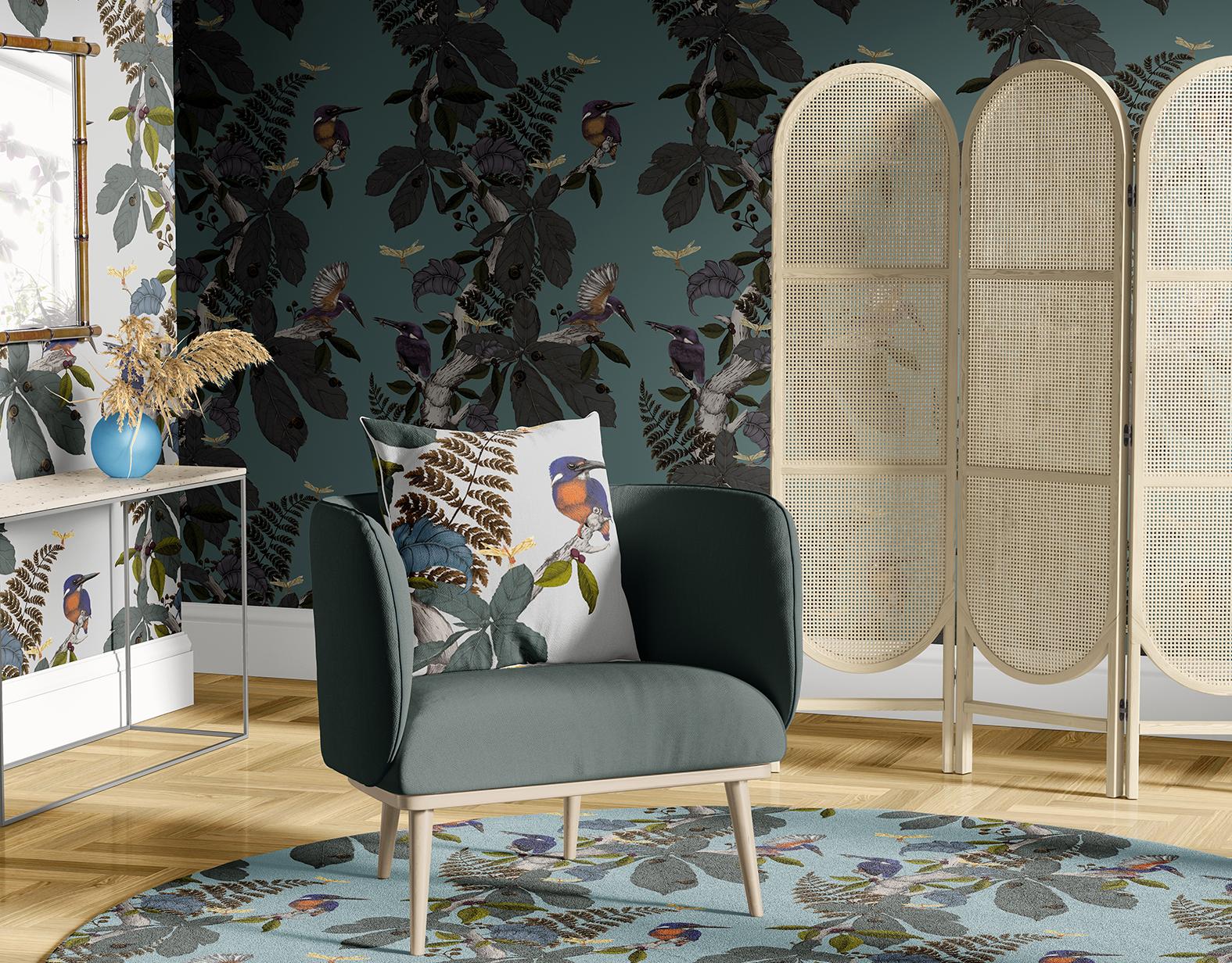 Interior scene featuring Kingfisher walllpaper original fig on moss ground