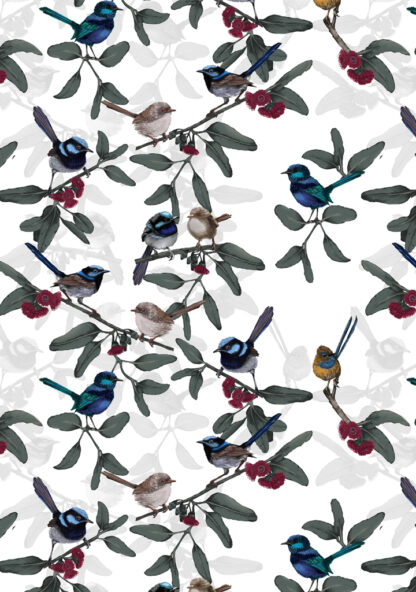 Wrens - This design is available as a upholstery fabric, linen, cotton twill and wallpaper.
