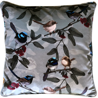 Velvet cushion covers with little wrens design in blue