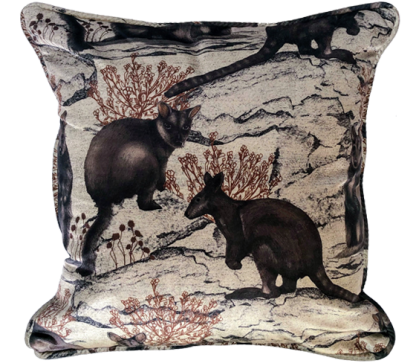 Wallaby toile cushion cover print on velvet