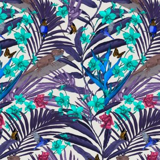 This tropicana design is available as a wallpaper, interior fabric velvet and linen and my commercial fabric range.