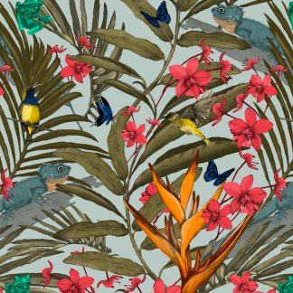 This tropical design is available as a wallpaper, interior fabric and linen.