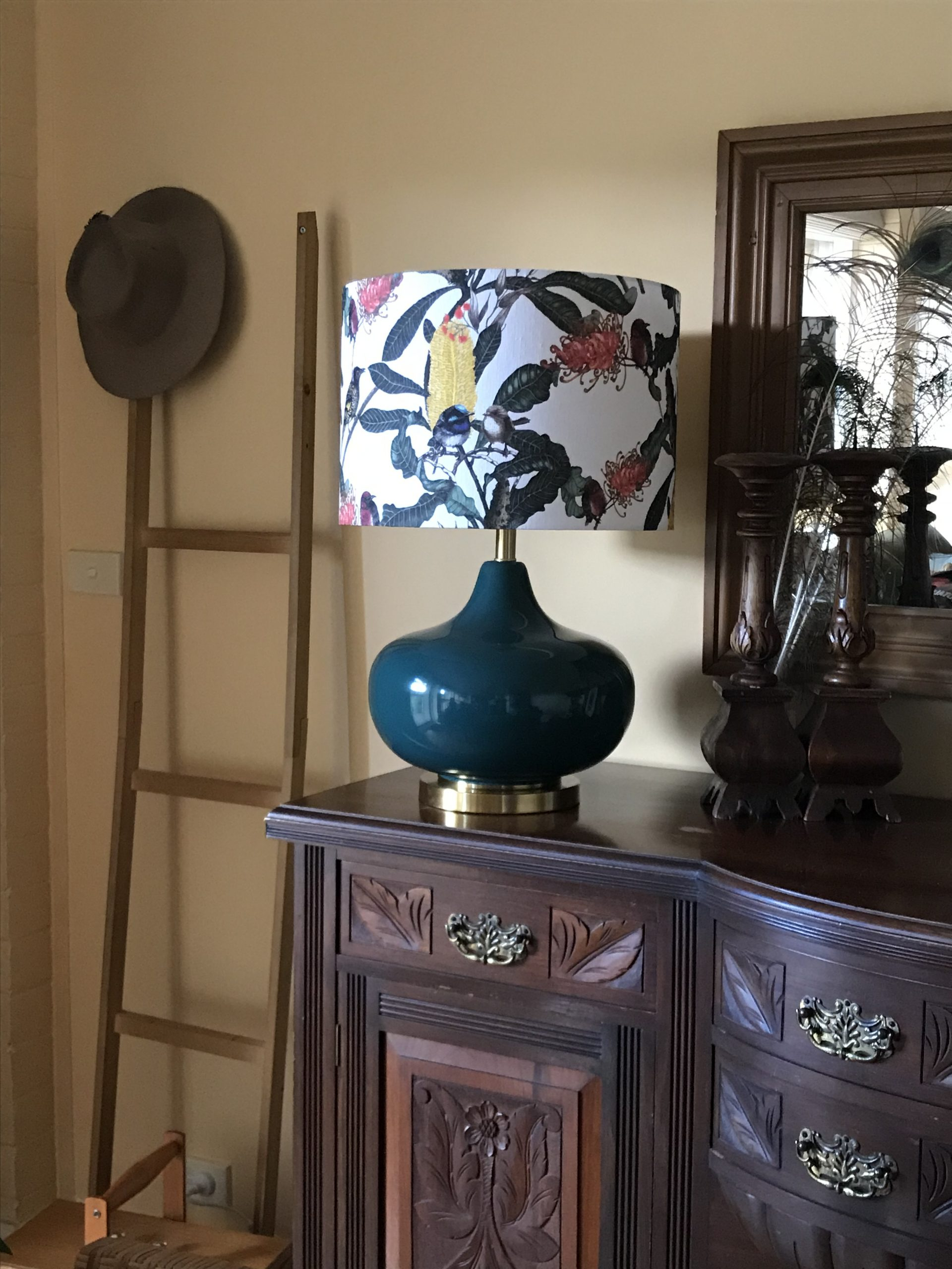 interior image showing lampshades by Green Room interiors with Banksai Medley linen.