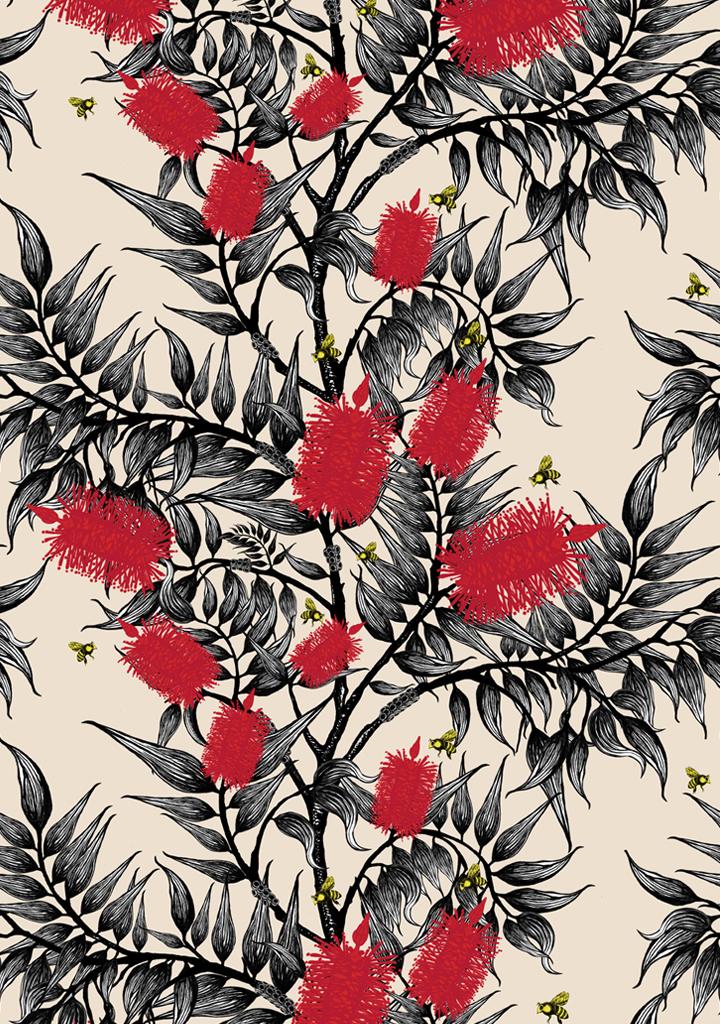 bees-in-the-bottlebrush_bright-red-flowers_cream-ground