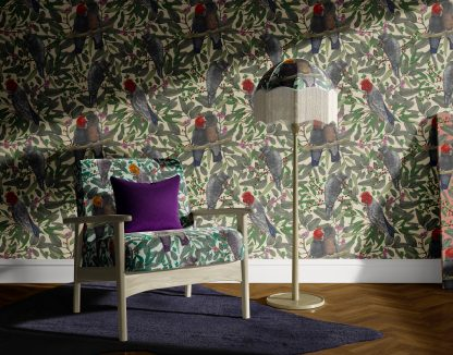 Interior Scene with Gang Gang Cockatoo wallpaper and velvet upholstery fabric.